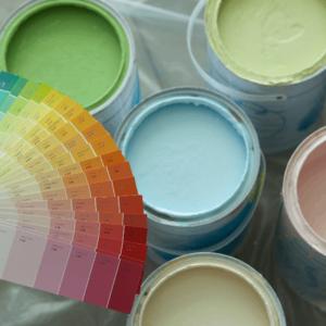 Paint cans an colour wheel